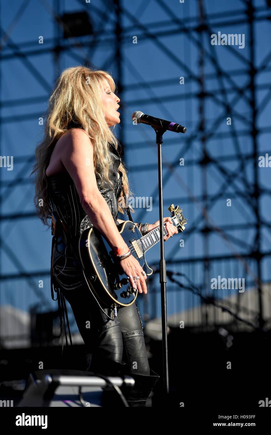 September 17, 2016, Irvine California, Janet Gardner lead singer of Vixen on stage at the Sirius XM Hair Nation - Stock Image