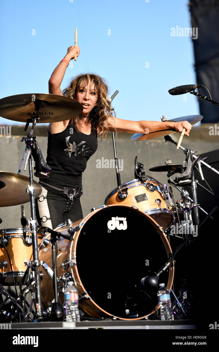 September 17, 2016, Irvine California, Roxy Petrucci, drummer of the band Vixen on stage at the Sirius XM Hair Nation - Stock Image