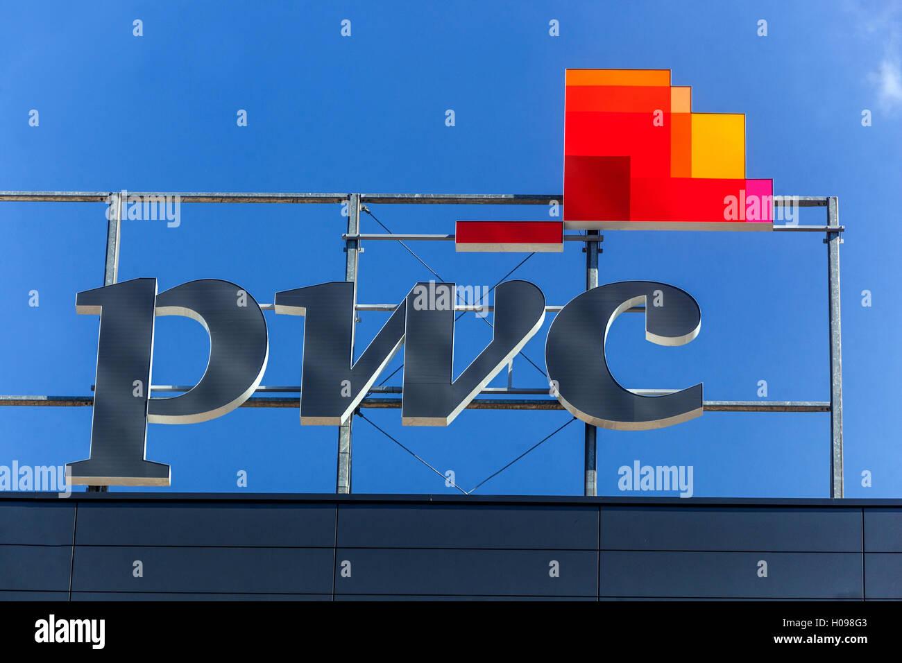 PWC logo, sign, Price Waterhouse Coopers, Bratislava, Slovakia - Stock Image