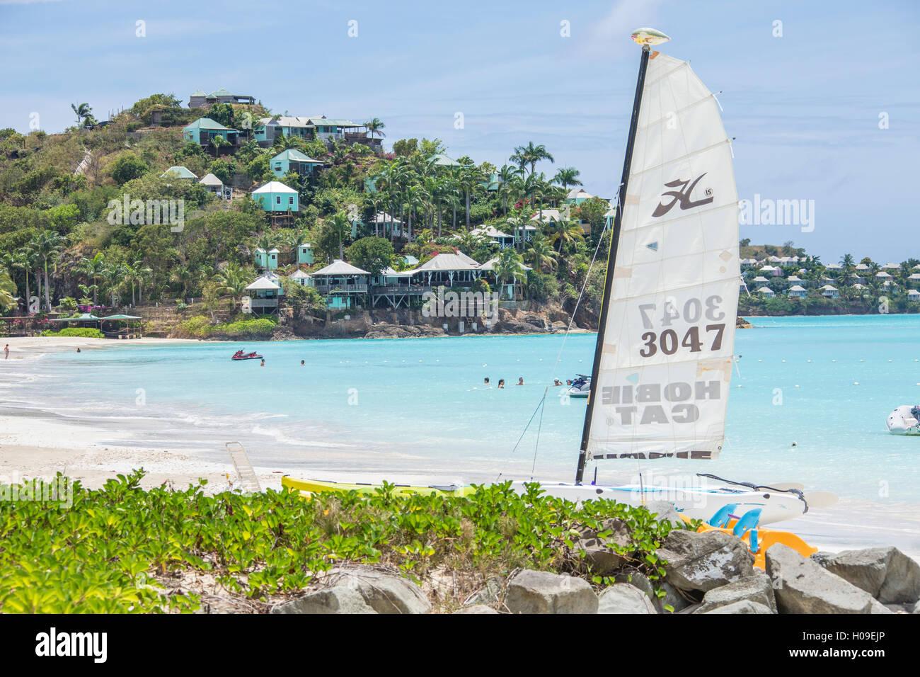 The resort on the Caribbean Sea and boats for tourists, Jolly Beach, Antigua, Antigua and Barbuda, Leeward Islands, - Stock Image