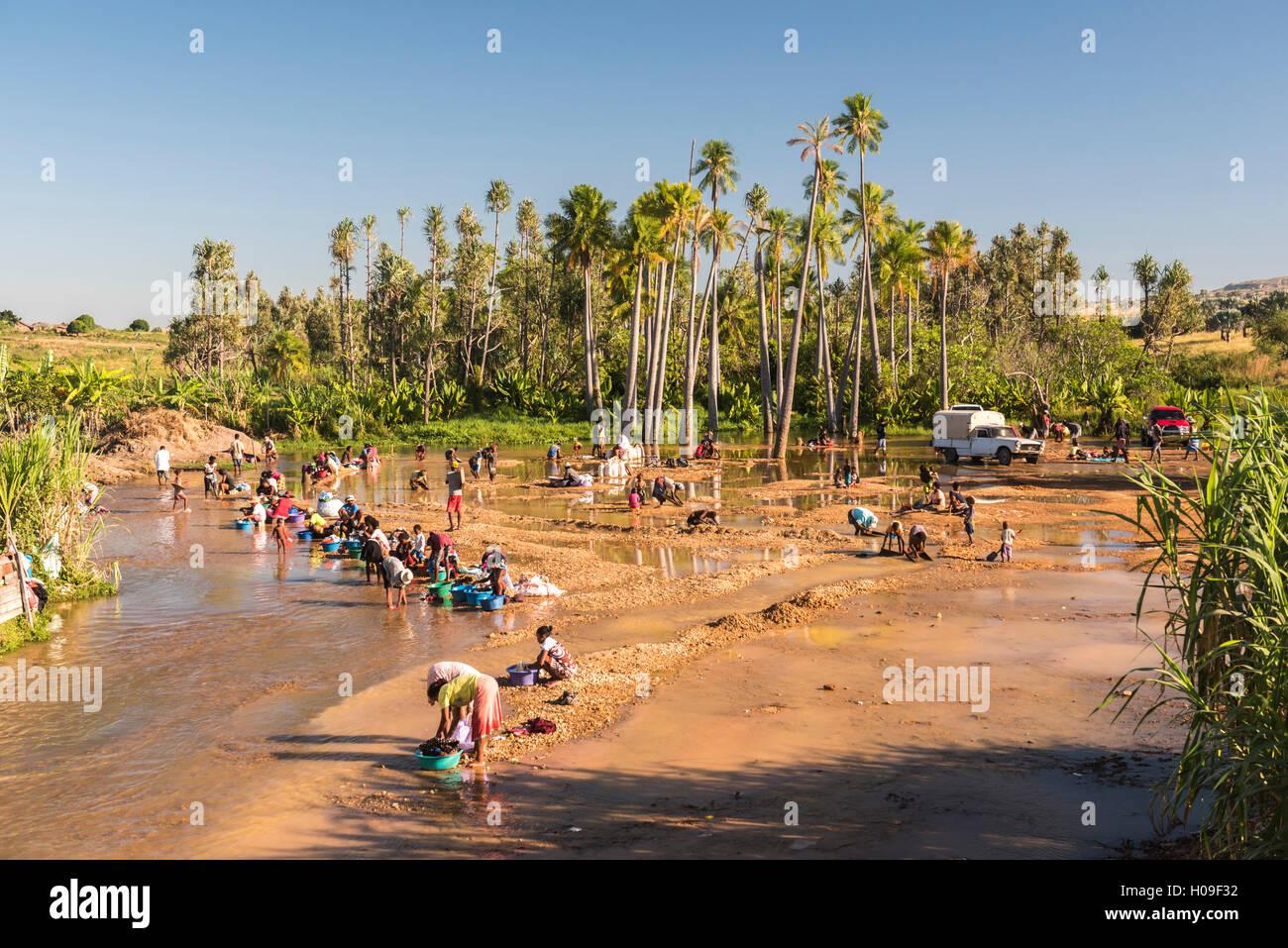 Panning for gold in Ilakaka, Ihorombe Region, Southwest Madagascar, Africa - Stock Image