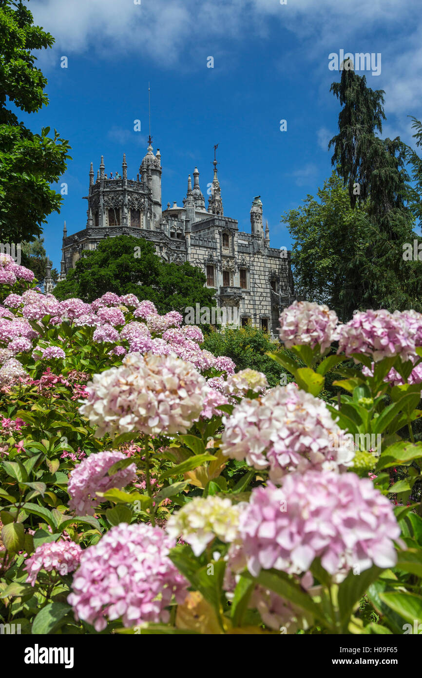 Flowers frame old mystical buildings of Romanesque Gothic and Renaissance style, Quinta da Regaleira, Sintra, Portugal, - Stock Image