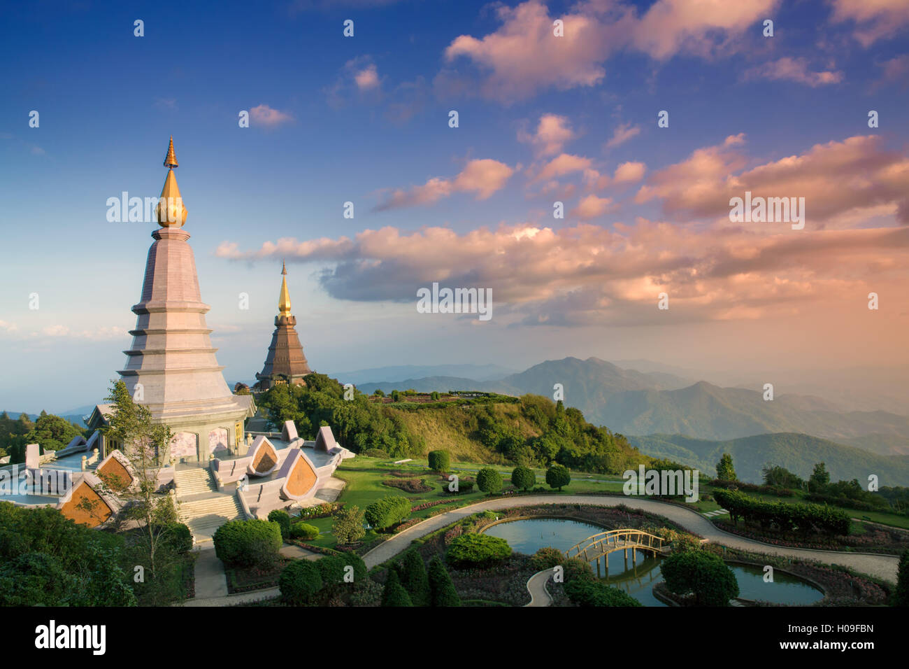 Temples at Doi Inthanon, the highest peak in Thailand, Chiang Mai Province, Thailand, Southeast Asia, Asia - Stock Image