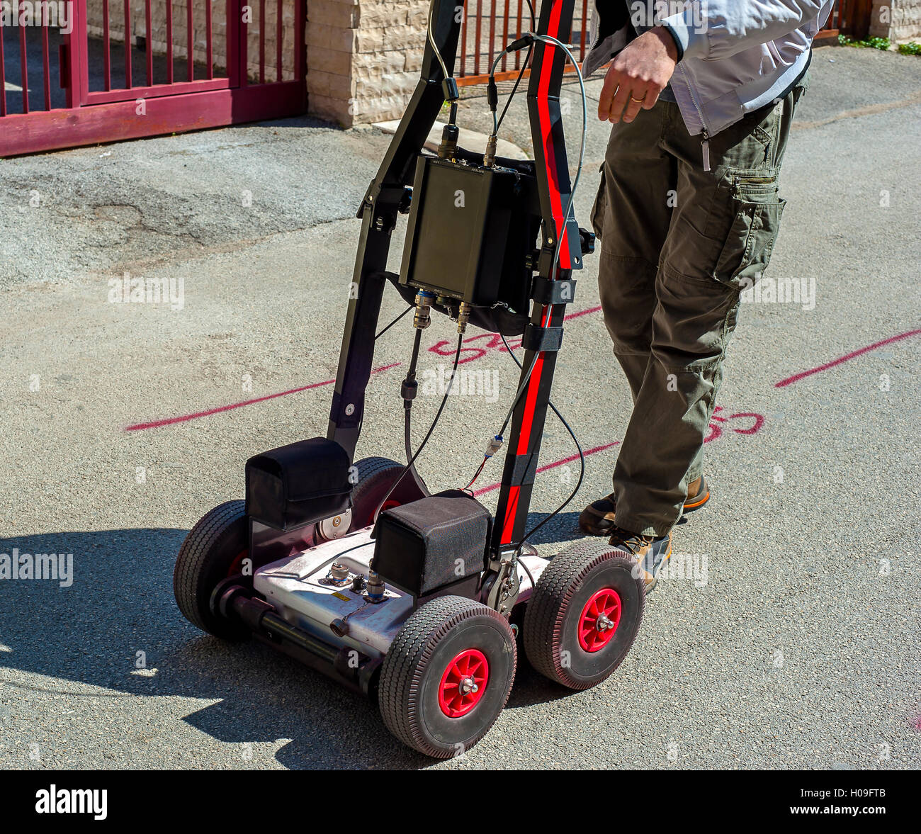 The GPR is a noninvasive method used in geophysics. It is based on the analysis of electromagnetic waves transmitted - Stock Image