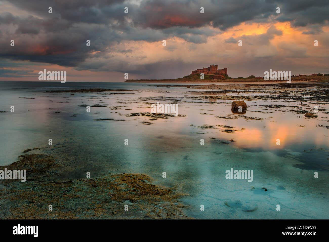 Bamburgh Castle and beach, Northumberland, England, United Kingdom, Europe - Stock Image
