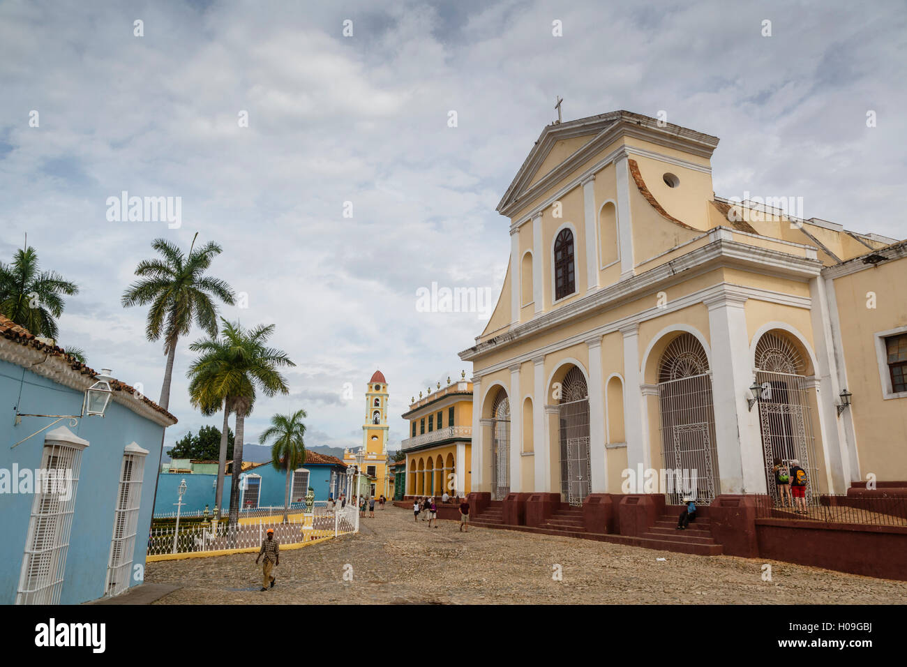 Plaza Mayor with the Iglesia Parroquial de la Santisima Trinidad and the Museo Nacional de la Lucha, Trinidad, UNESCO, - Stock Image