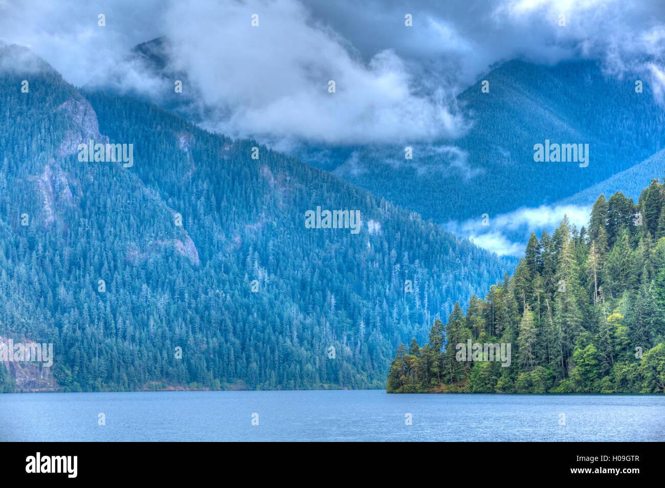 Cresent Lake, Aurora Ridge in the background, Olympic National Park, UNESCO World Heritage Site, Washington, USA, - Stock Image