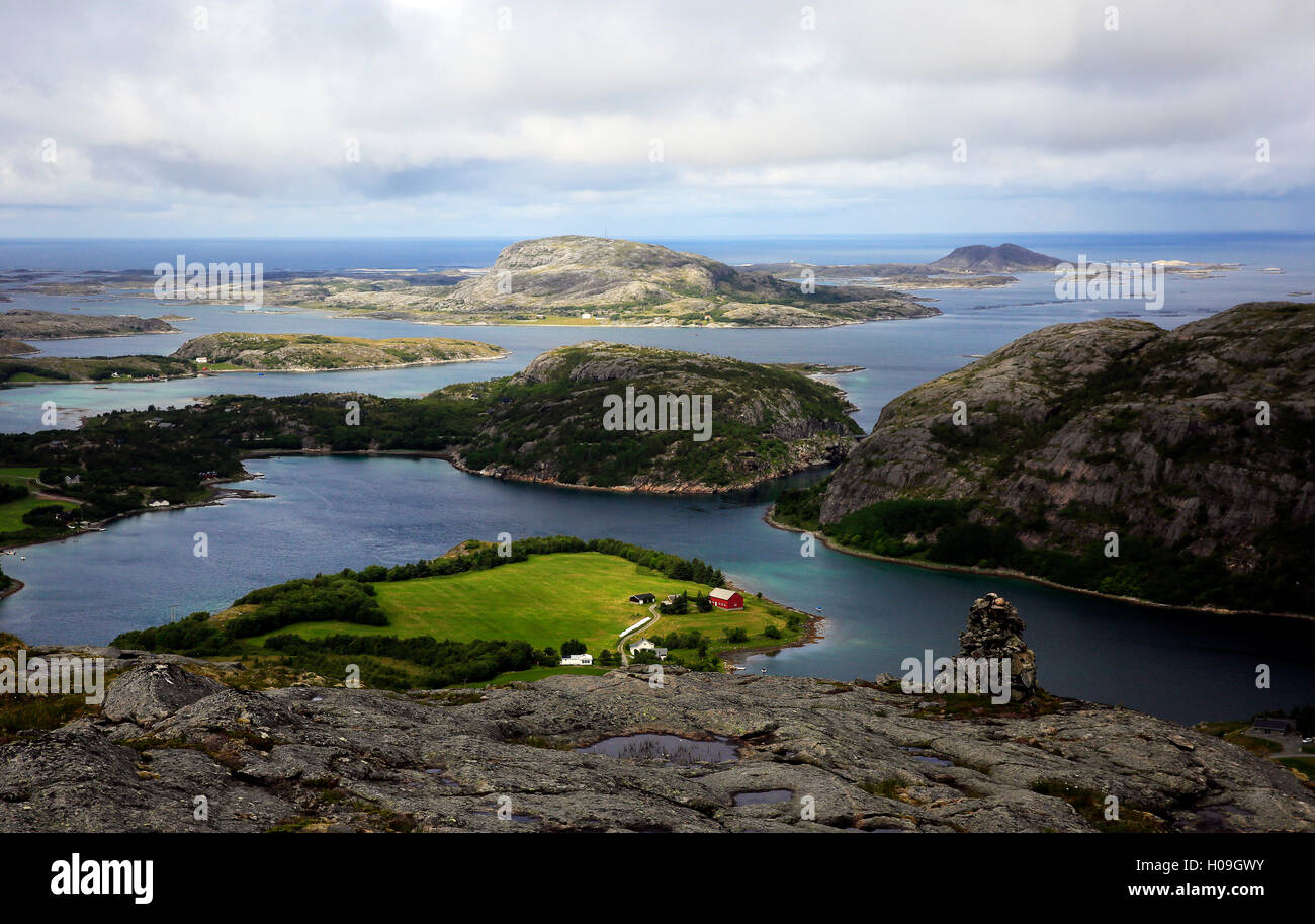 View across the islands of Flatanger, Nord-Trondelag, Norway, Scandinavia, Europe - Stock Image