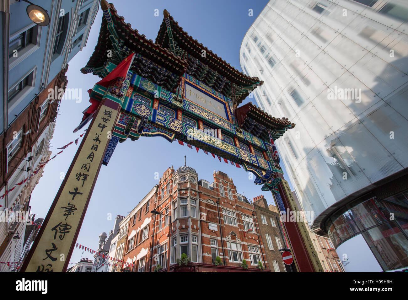 Chinatown on Wardour Street, London, England, United Kingdom, Europe - Stock Image
