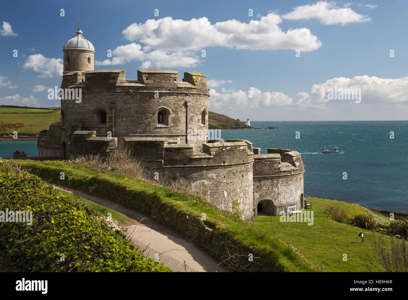 St. Mawes Castle and coastline, St. Mawes, Cornwall, England, United Kingdom, Europe - Stock Image