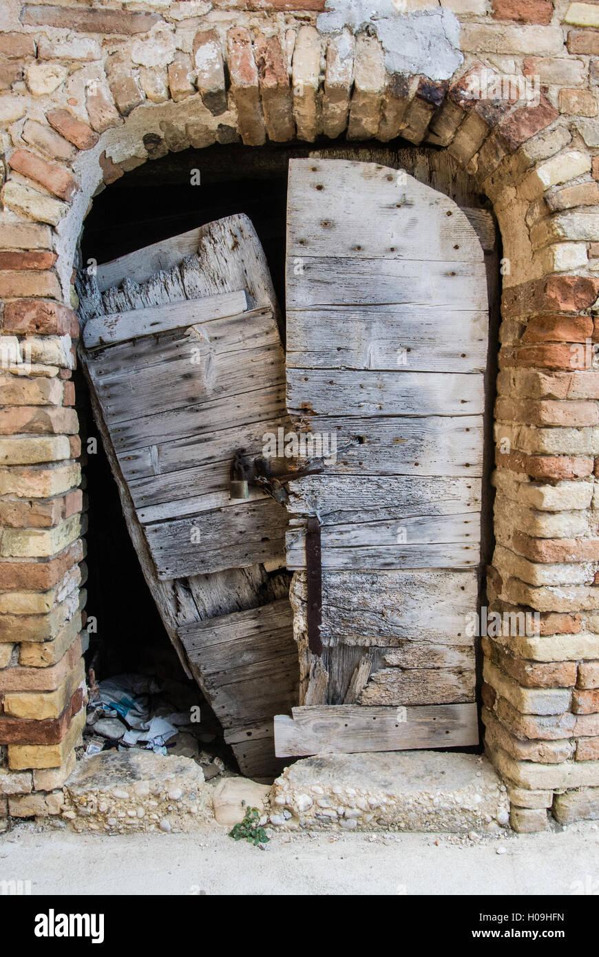 Old Broken Wooden Door In Grottammare, Marche, Italy