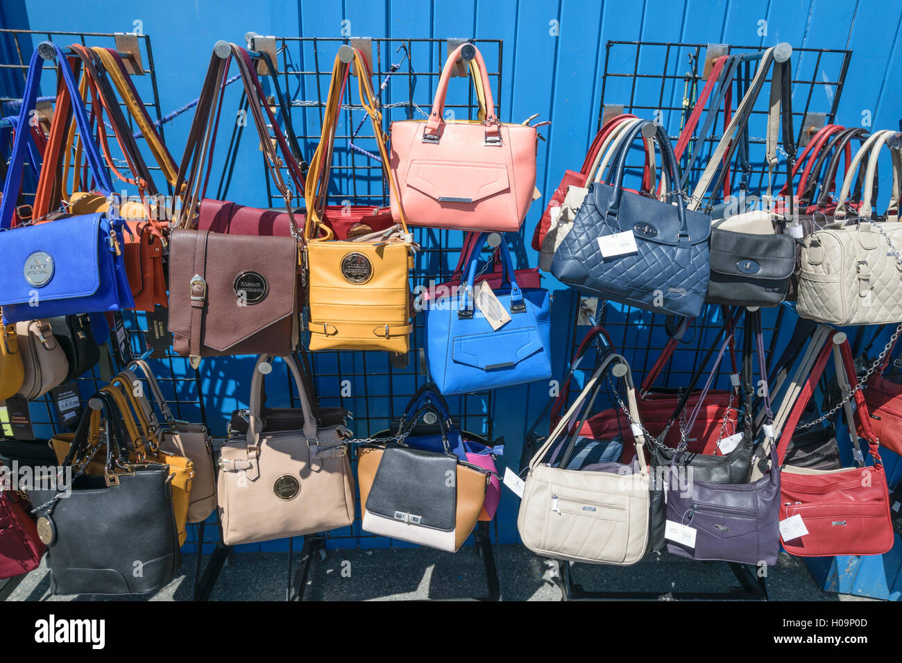 Ladies Handbags For Sale In Various Colours On Llandudno Pier In