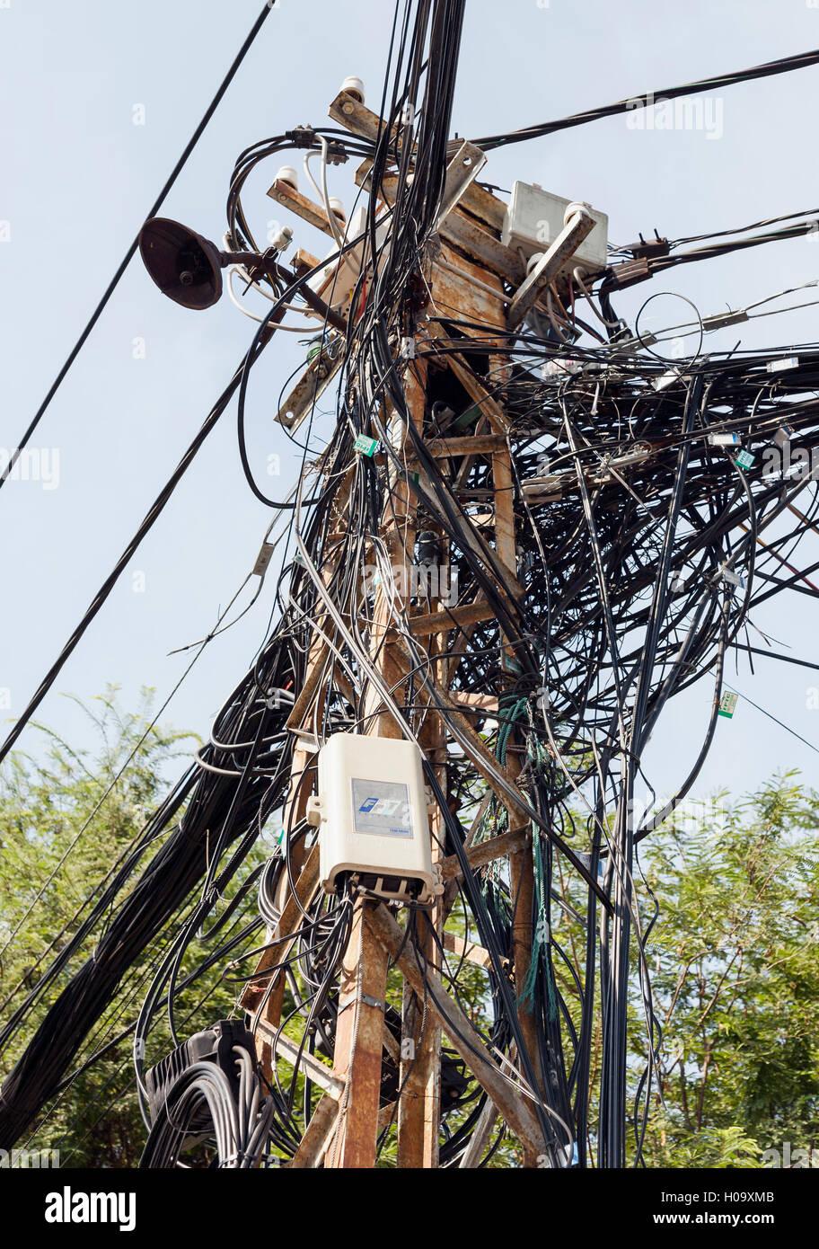Cable jumble, Vietnam - Stock Image