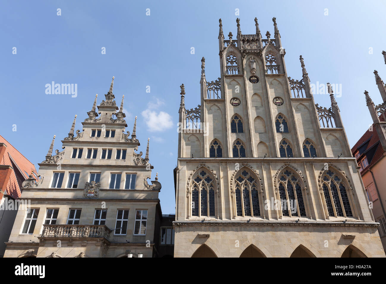 Gable of the city wine house and townhall at Prinzipalmarkt, Münster, Münsterland, North Rhine-Westphalia, - Stock Image
