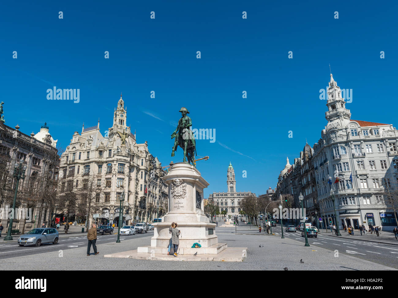 Equestrian statue of Dom Pedro IV, Aliados Avenue and townhall, Porto, District of Porto, Portugal - Stock Image