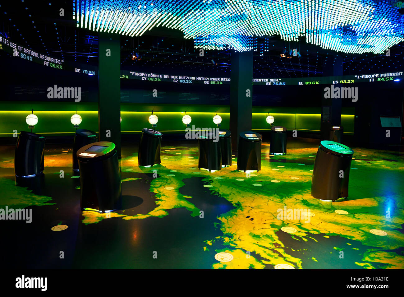 Showroom, visitors' center, Parlamentarium, European Parliament, Brussels, Belgium Stock Photo