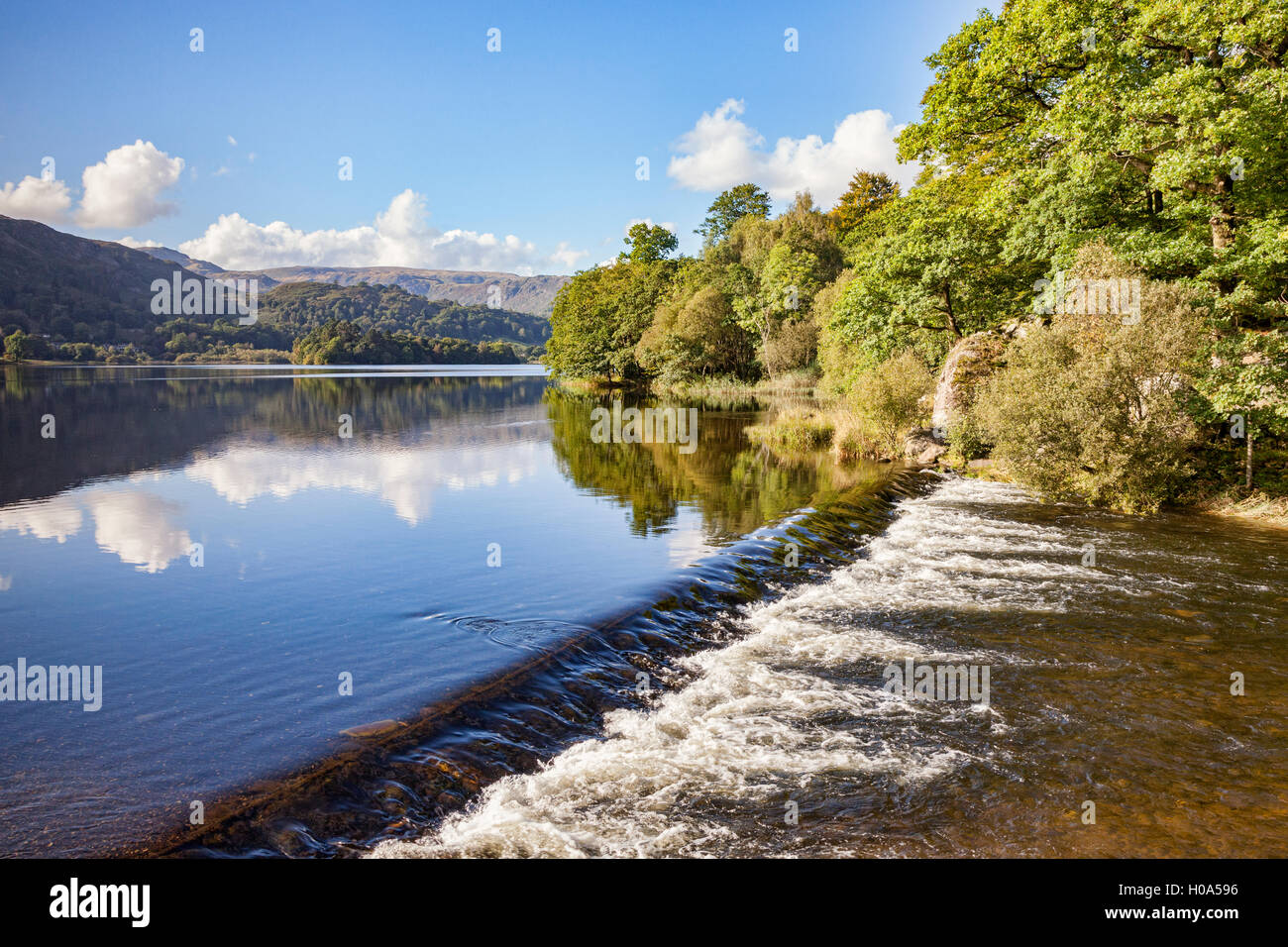 Weir at Grasmere, Lake District National Park, Cumbria, England, UK - Stock Image