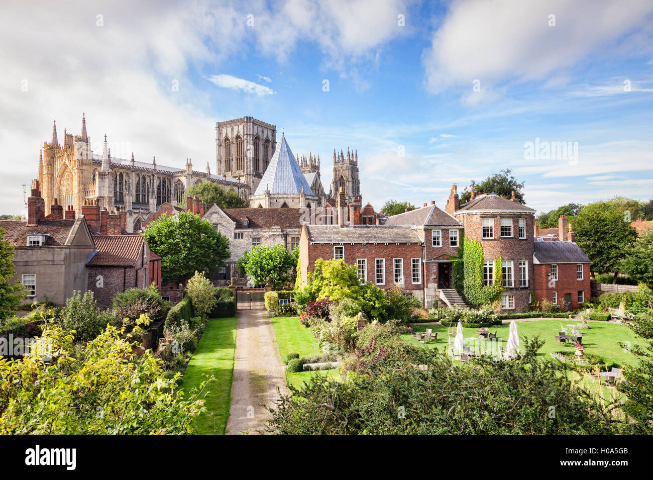 York Minster and Gray's Court Hotel, from the city walls, York, North Yorkshire, England, UK - Stock Image