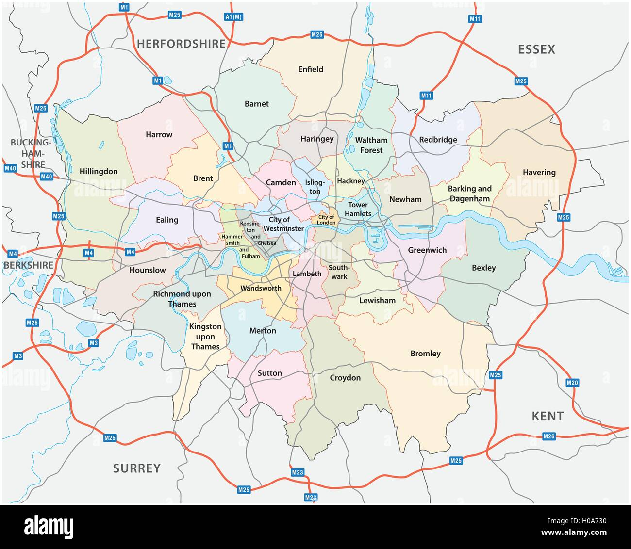 greater london road and administrative map - Stock Image