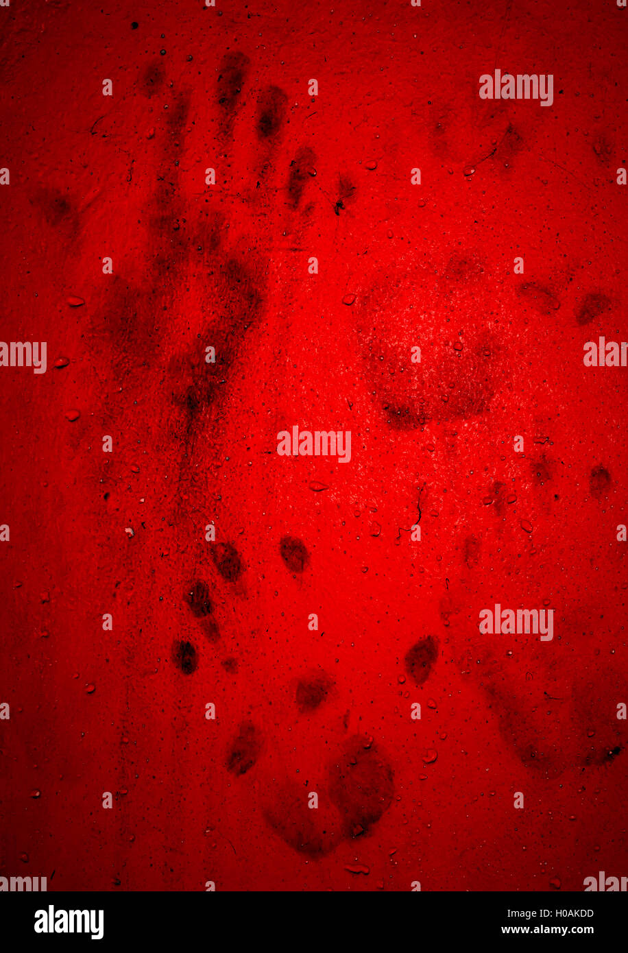 dirty hand prints on red wall. ideas for background halloween stock