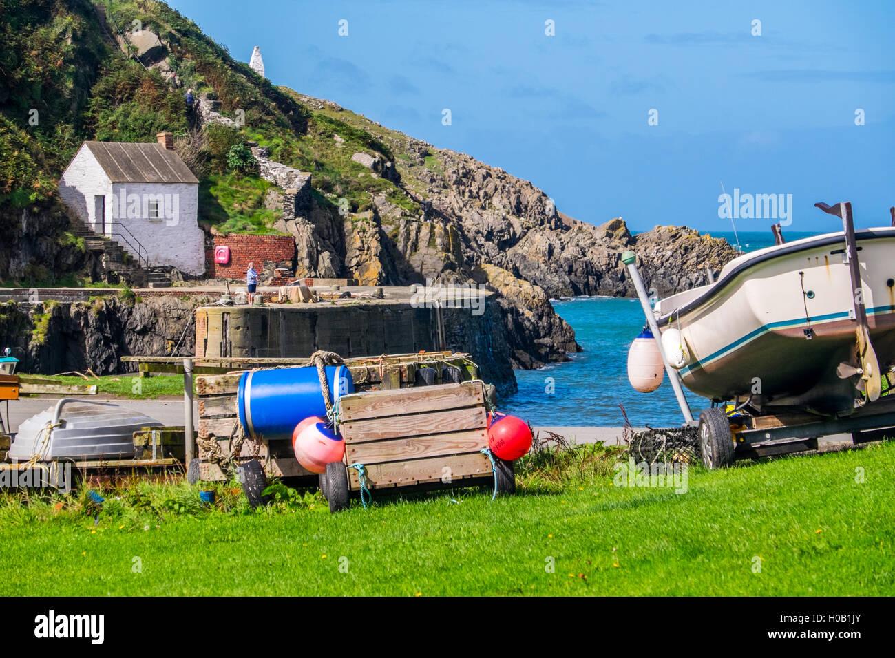 Porthgain Harbour on the Pembrokeshire Coast - Stock Image