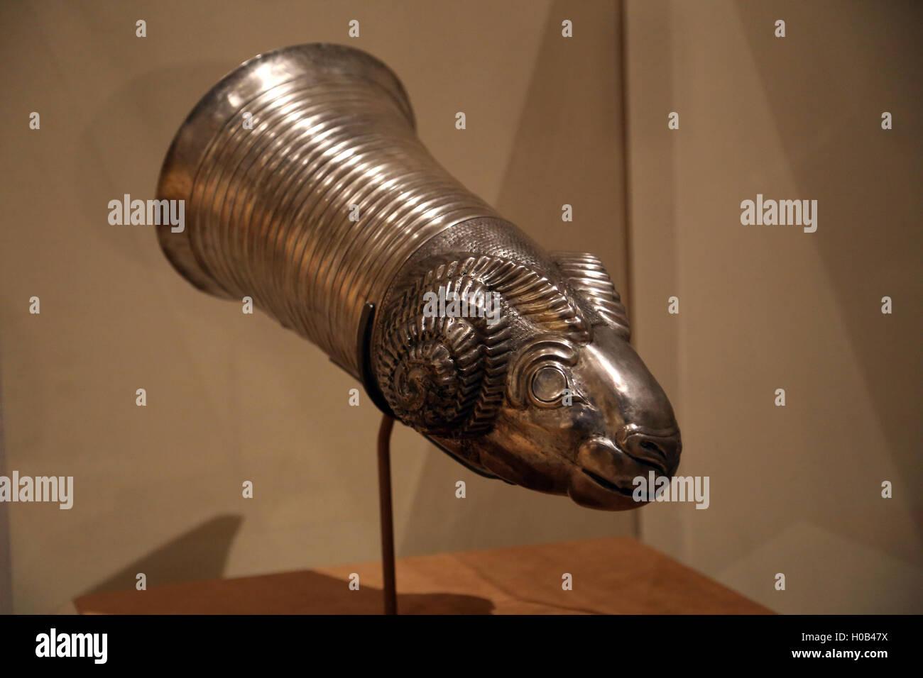 Vessel terminating in the head of a ram. Silver. Northwestern Iran. 8th-7th century B.C. Iron Age III. - Stock Image