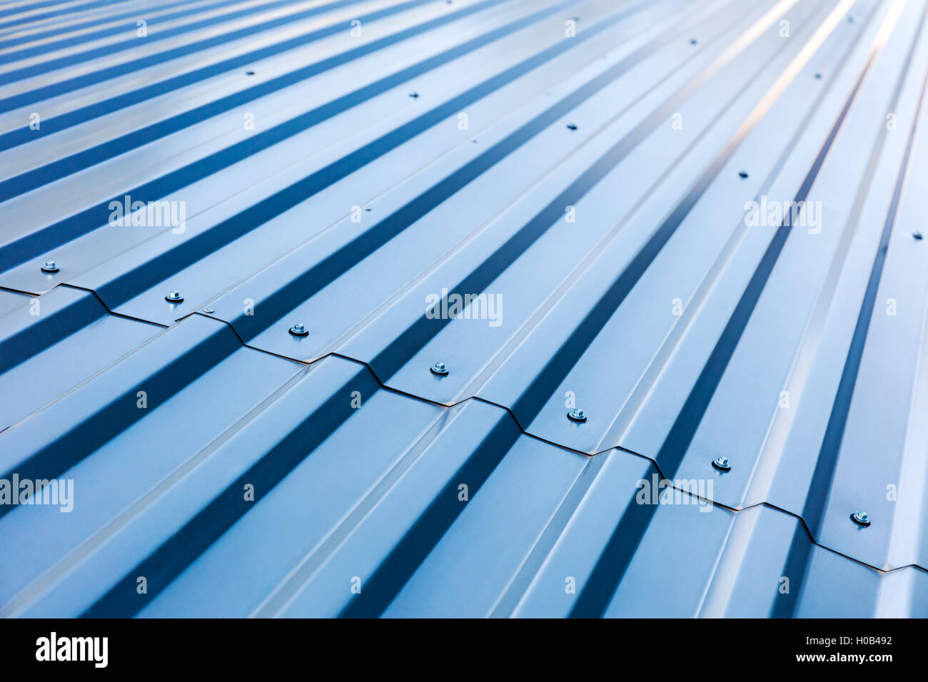 Blue Corrugated Metal Roof With Rivets Industrial