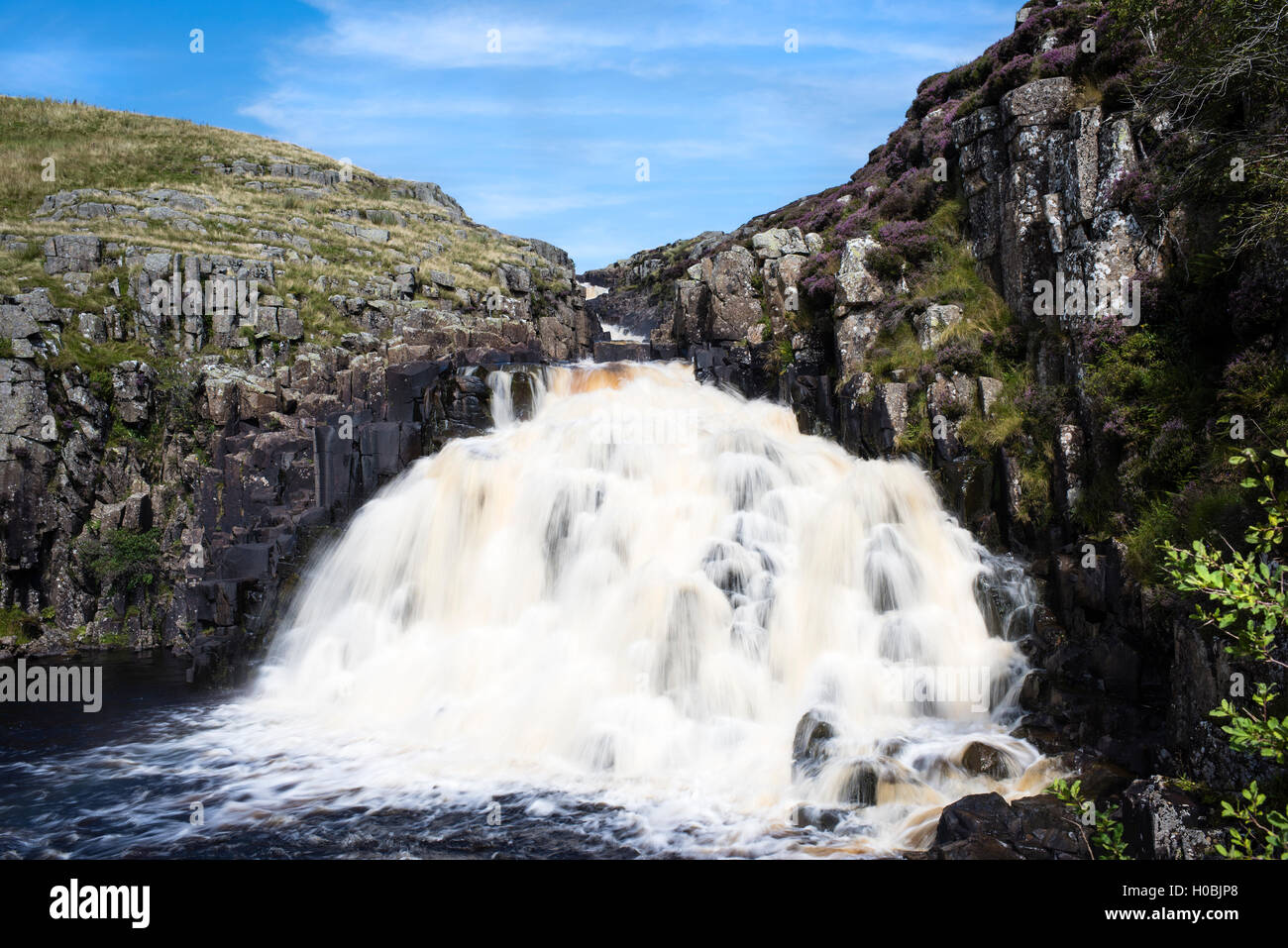 Cauldron Snout waterfall, Upper Teesdale National Nature Reserve, Durham, England, UK - Stock Image