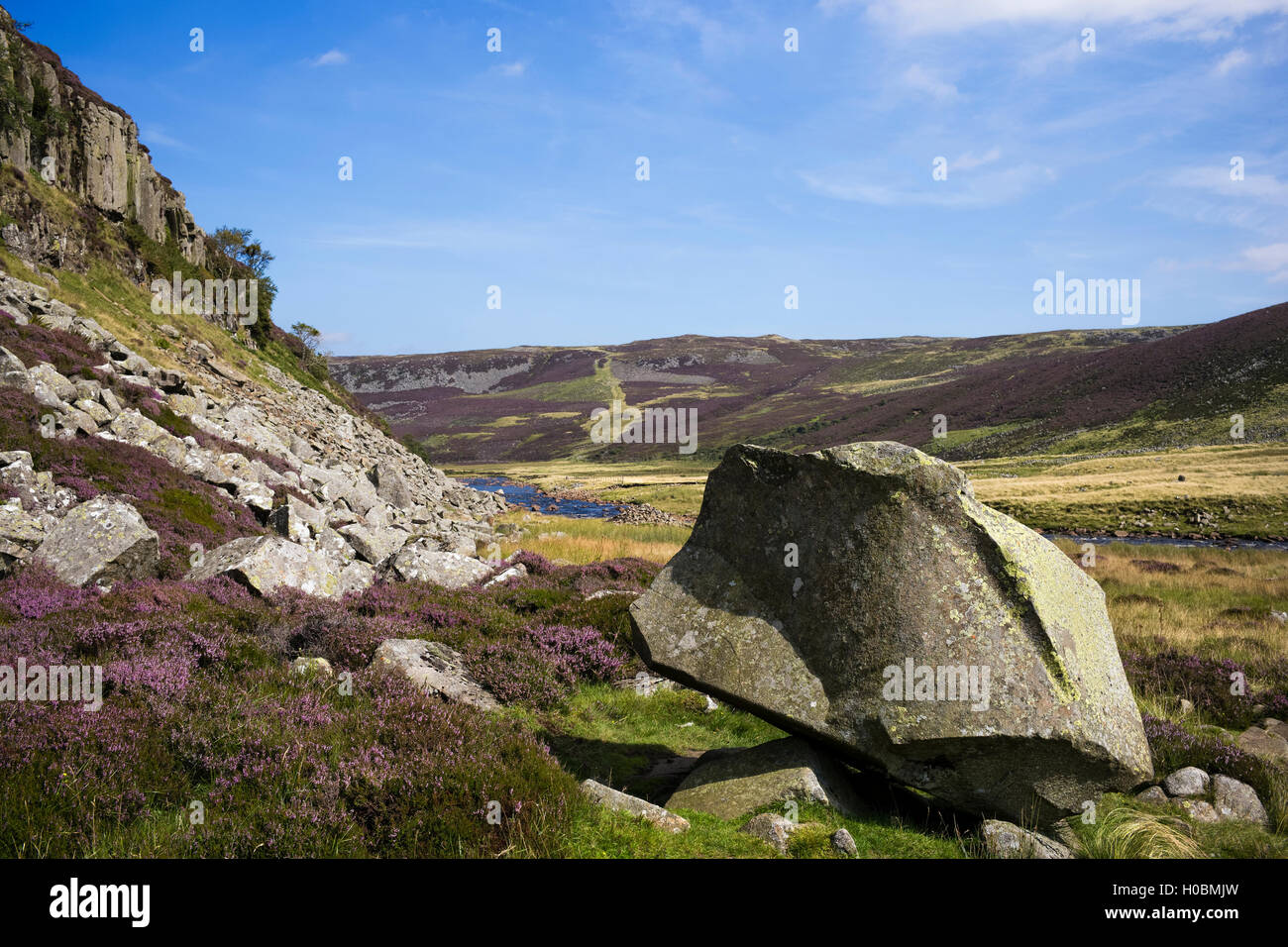 An artistically fractured rock below Falcon Clints, Upper Teesdale National Nature Reserve, Durham, England, UK - Stock Image
