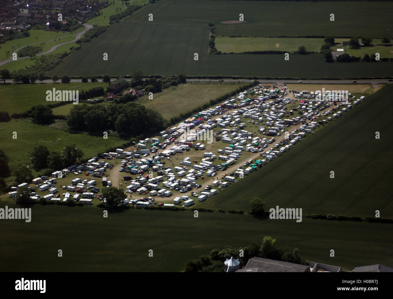 Aerial photo of travellers camp Seamer, Scarborough, North Yorkshire - Stock Image