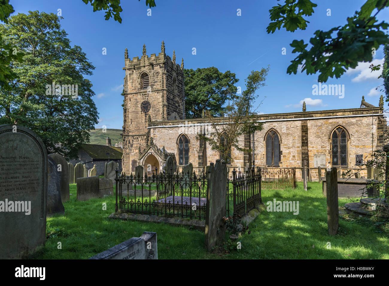 The Parish church of St Edmund Castleton Derbyshire. North West England. - Stock Image