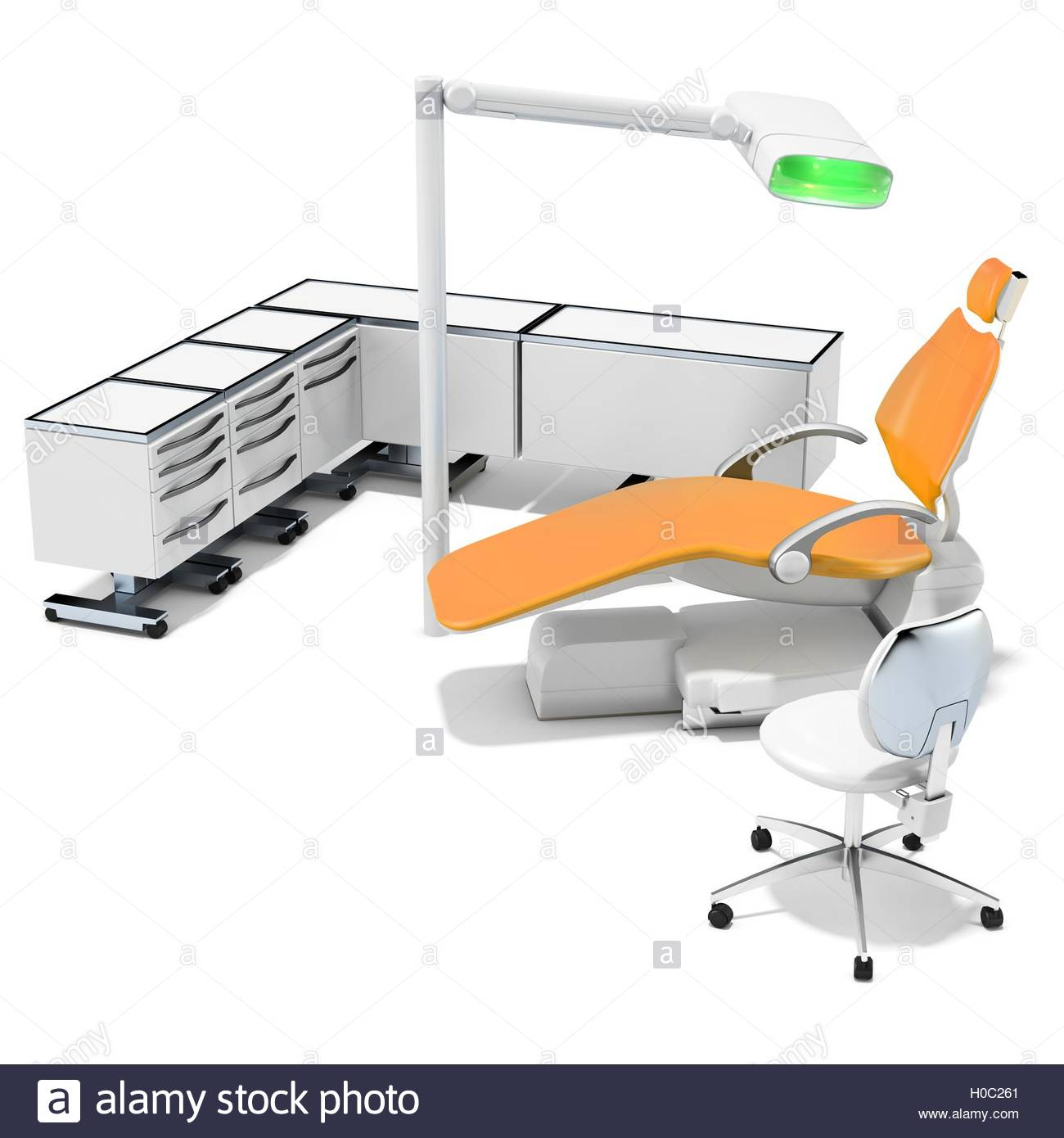 3d modern dental chair furniture and light on white background