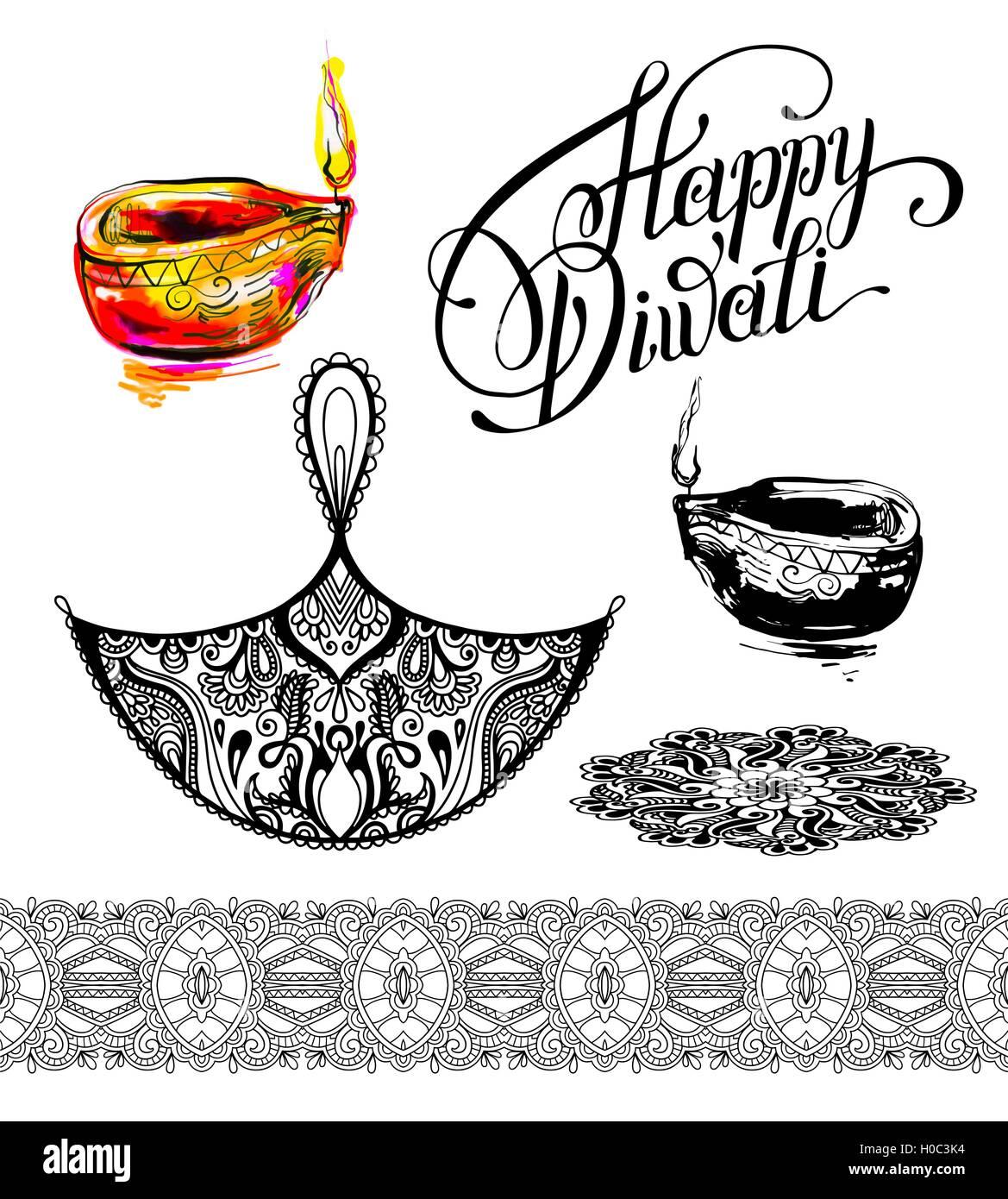 Set hand drawing design element for diwali celebration indian