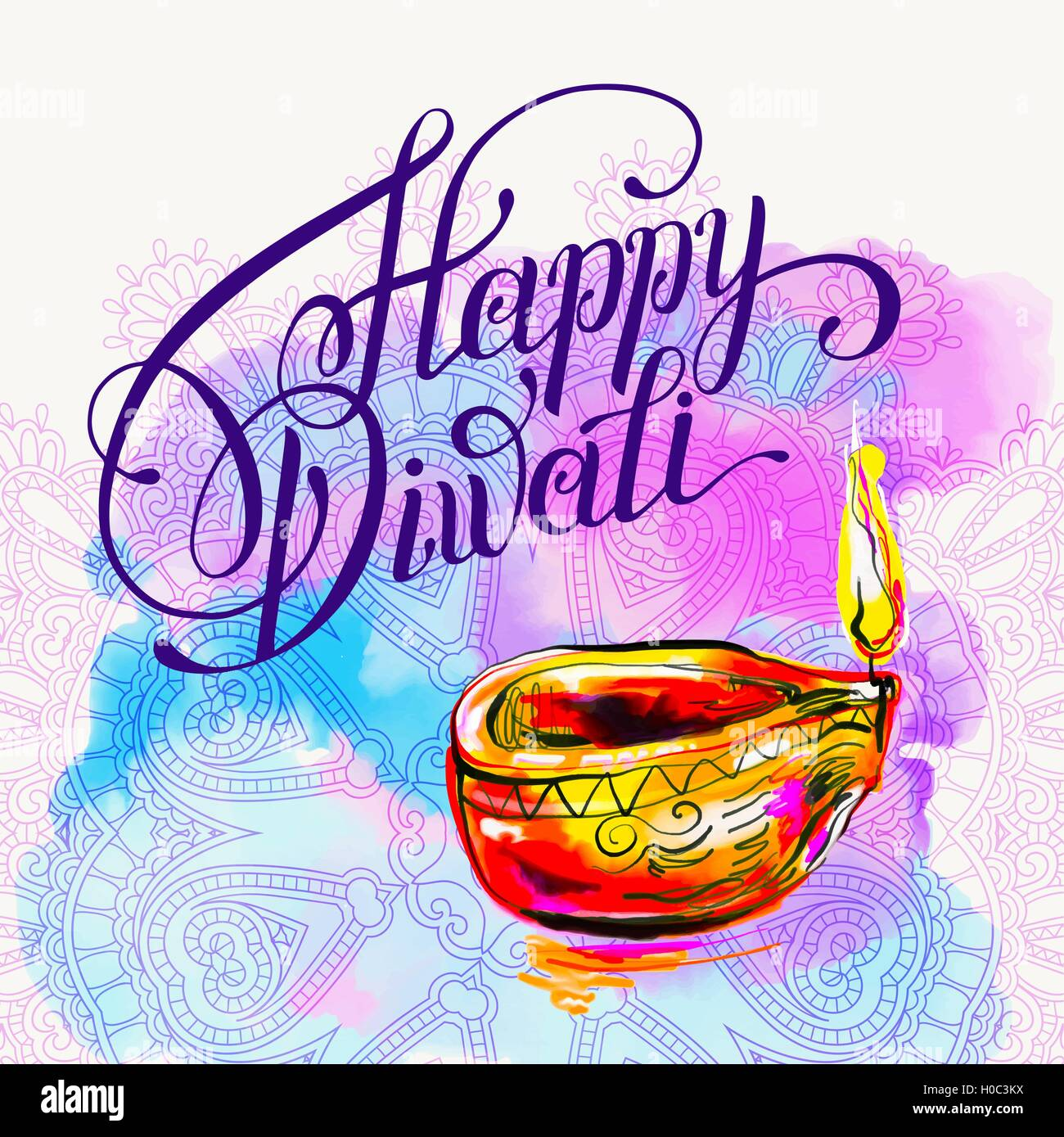 Happy diwali watercolor greeting card to indian fire festival wi happy diwali watercolor greeting card to indian fire festival wi m4hsunfo