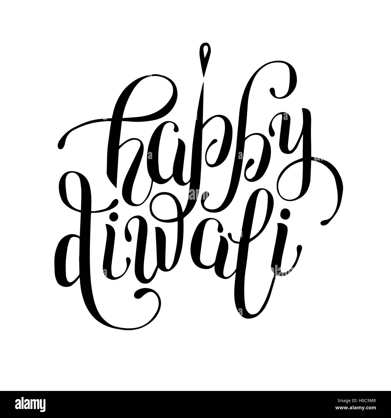 hand lettering inscription Happy Diwali to indian fire festival ... for Diwali Festival Black And White Images  45jwn