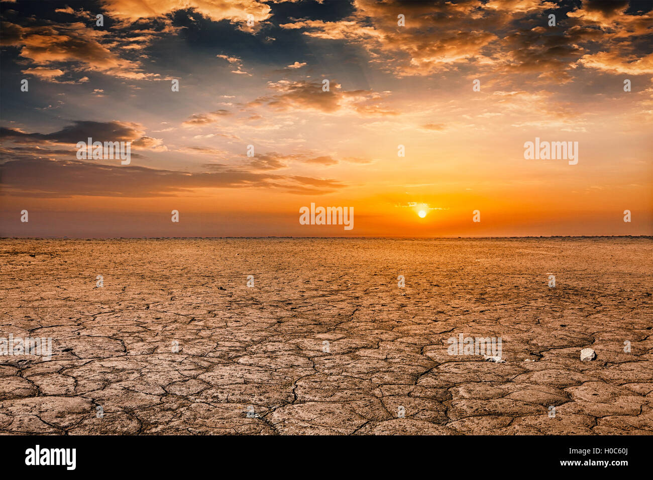 Cracked earth soil sunset landscape - Stock Image