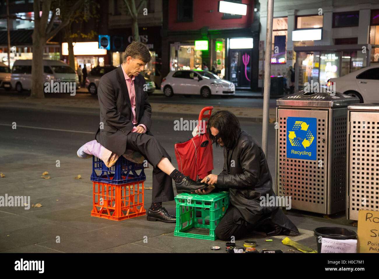 Shoe cleaning in the streets of Melbourne, Australia - Stock Image
