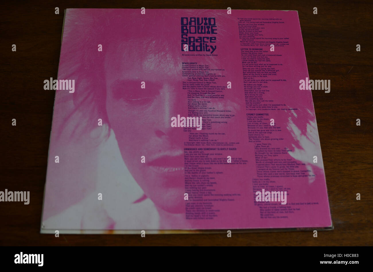 David Bowie, Space Oddity, Spanish Import, inner sleeve, lyric sheet - Stock Image