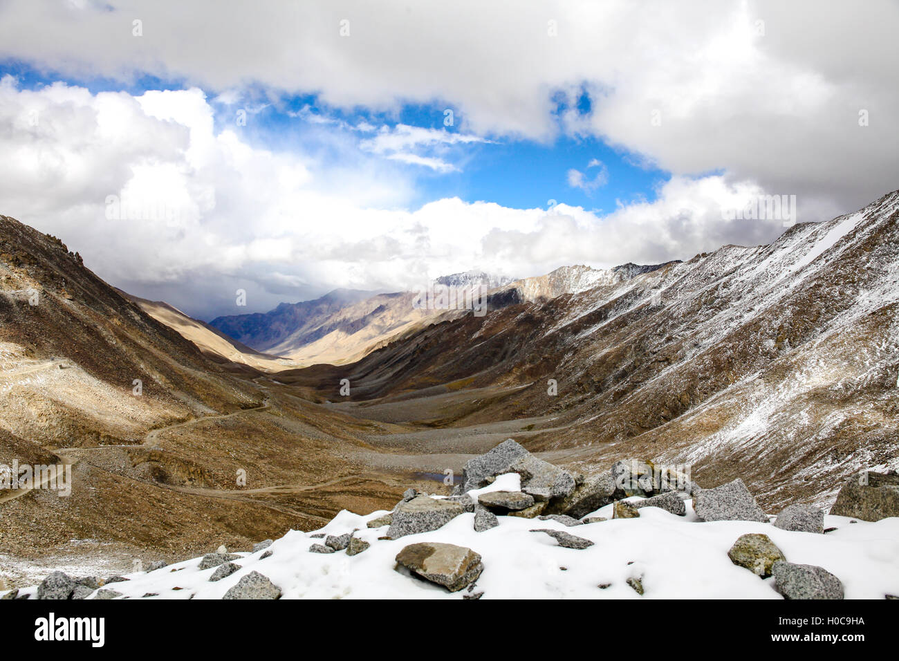 Landscape Of Snow Mountains In Leh Ladakh In Indian State Of Jammu