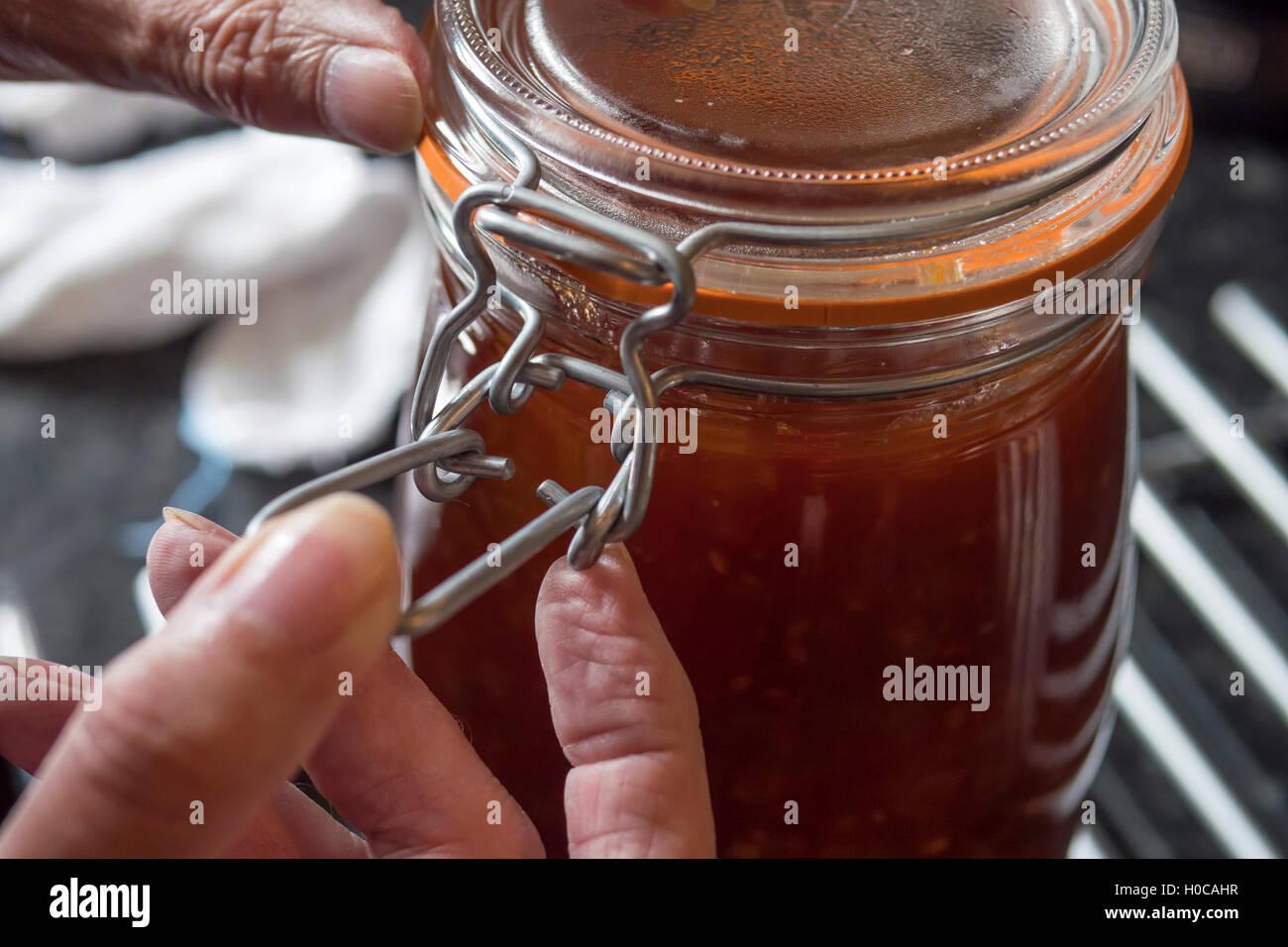 Making Tomato Chutney at home - Stock Image