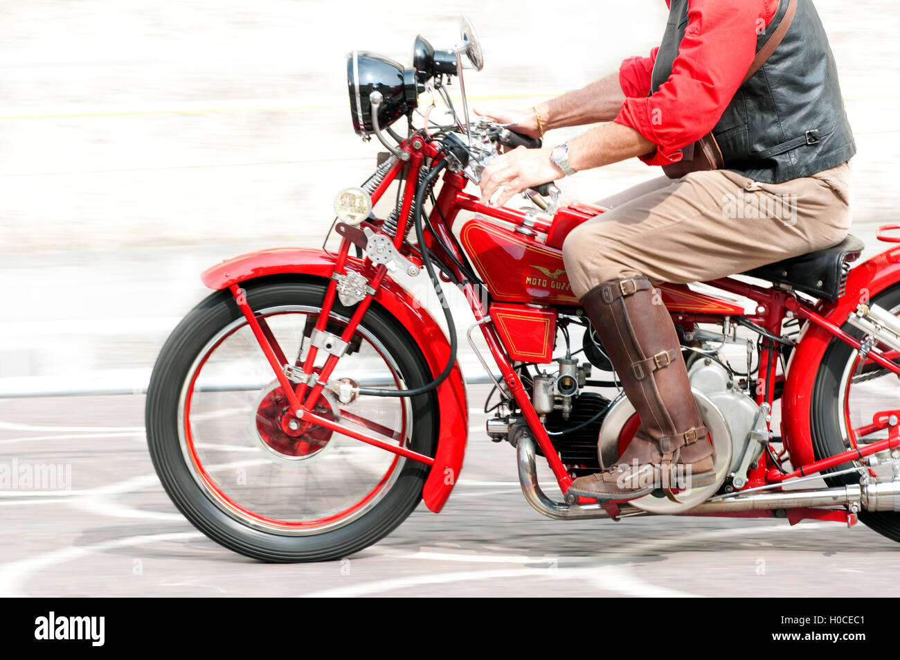 Italy, Lombardy, Meeting of Vintage Motorcycle, Vintage  Moto Guzzi Motorcycle - Stock Image