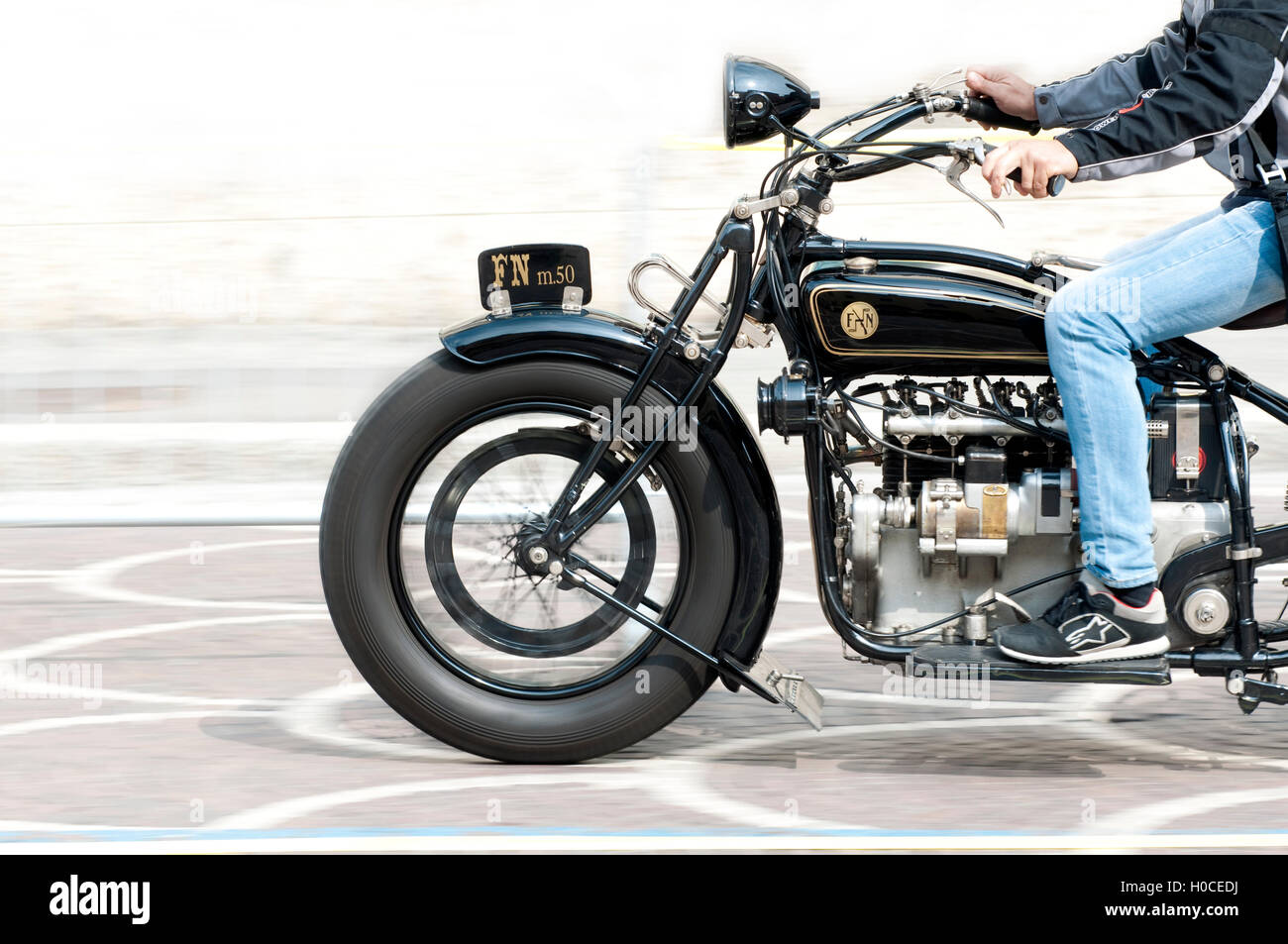 Italy, Lombardy, Meeting of Vintage Motorcycle, Vintage FN Model 50 by 1925  Motorcycle - Stock Image