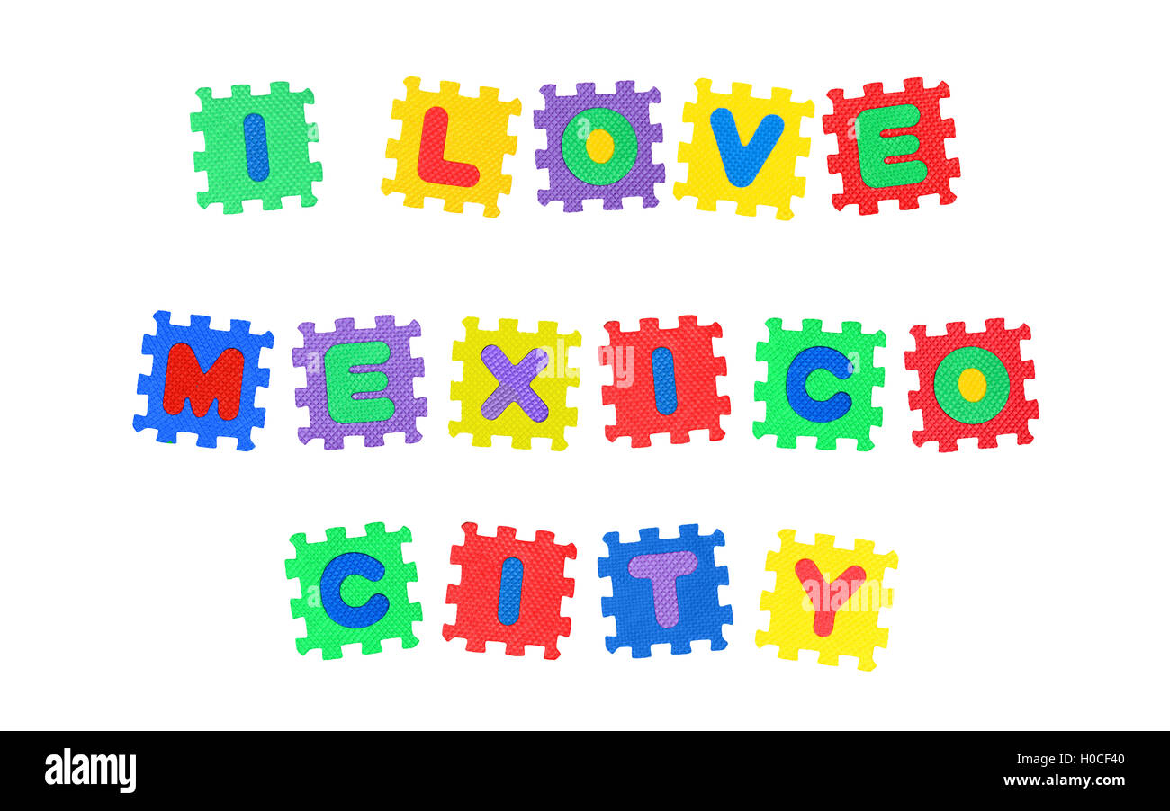 Message I Love Mexico City, from letters puzzle, isolated on white background. - Stock Image