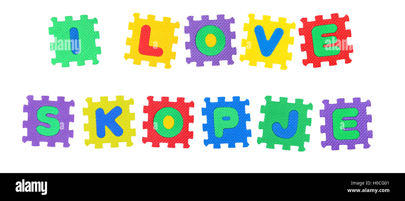 Message I Love Skopje, from letters puzzle, isolated on white background. - Stock Image