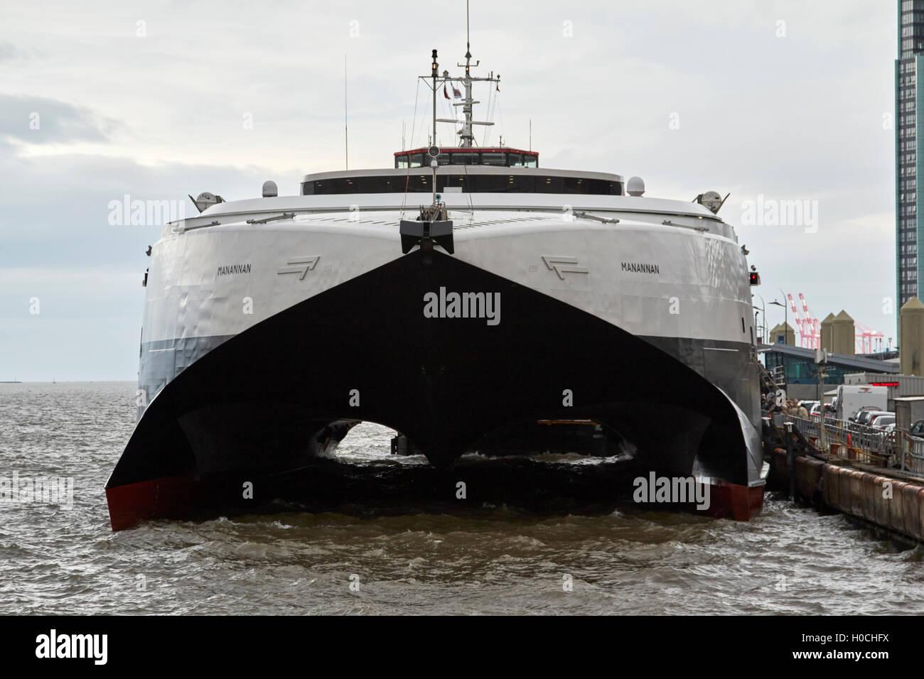 HSC manannan catamaran car ferry isle of man steam packet company Liverpool Merseyside UK Stock Photo