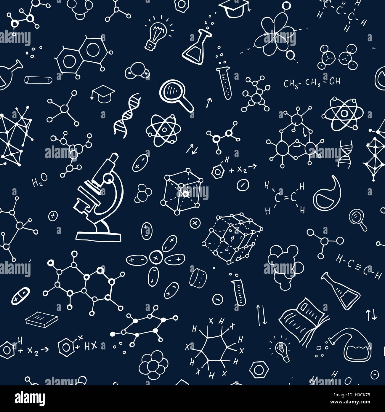 Seamless chemistry background Stock Vector