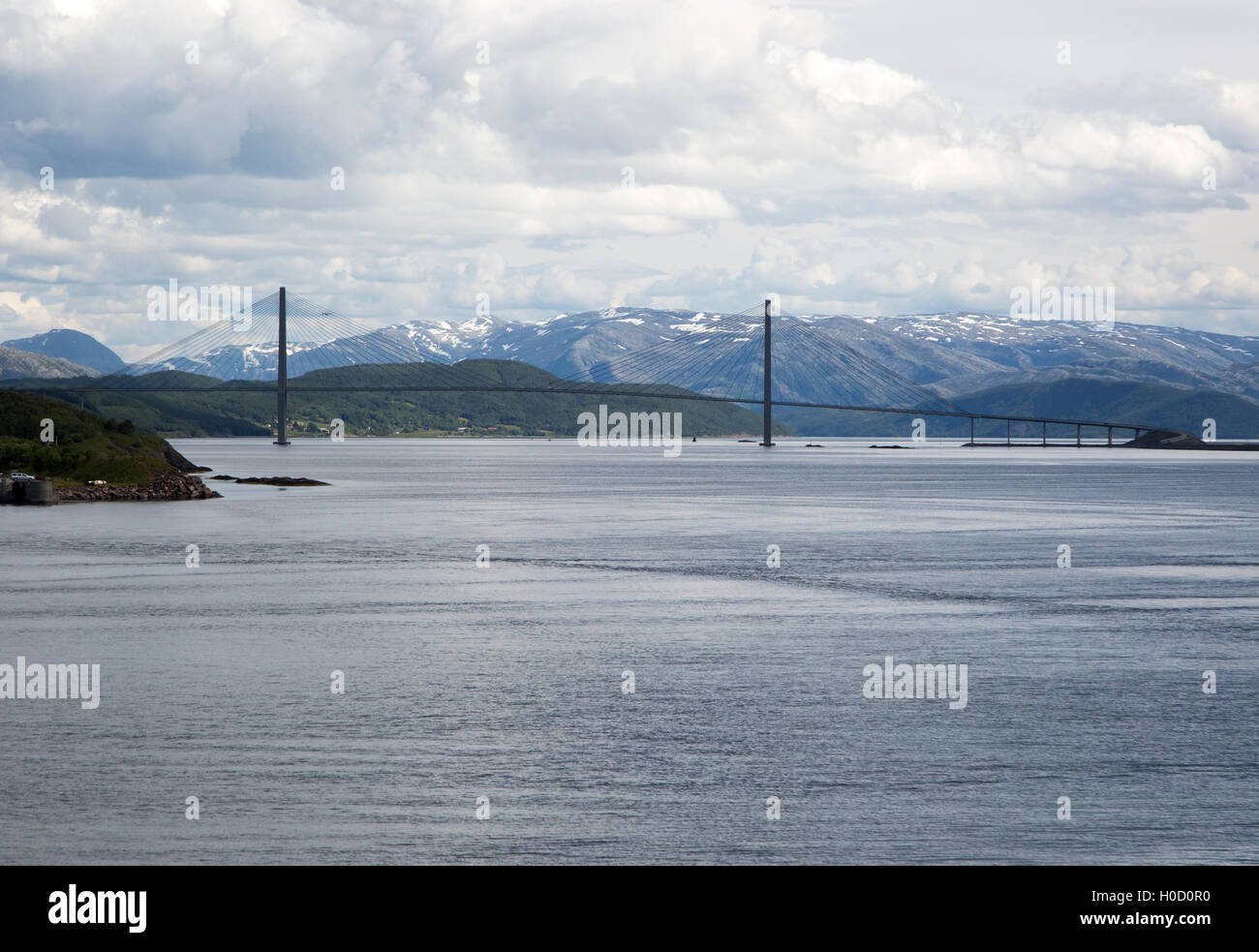 Large concrete cantilever road bridge crossing fiord at Sandnessjoen, Nordland, Norway - Stock Image