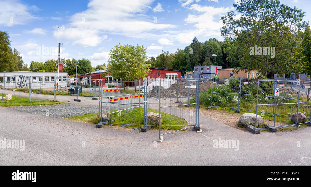 Panorama of school construction work project at Berghultskolan in Floda, Sweden  Model Release: No.  Property Release: - Stock Image