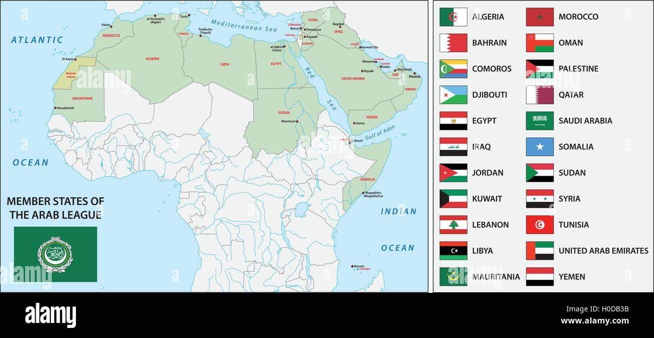 arab league map with flags