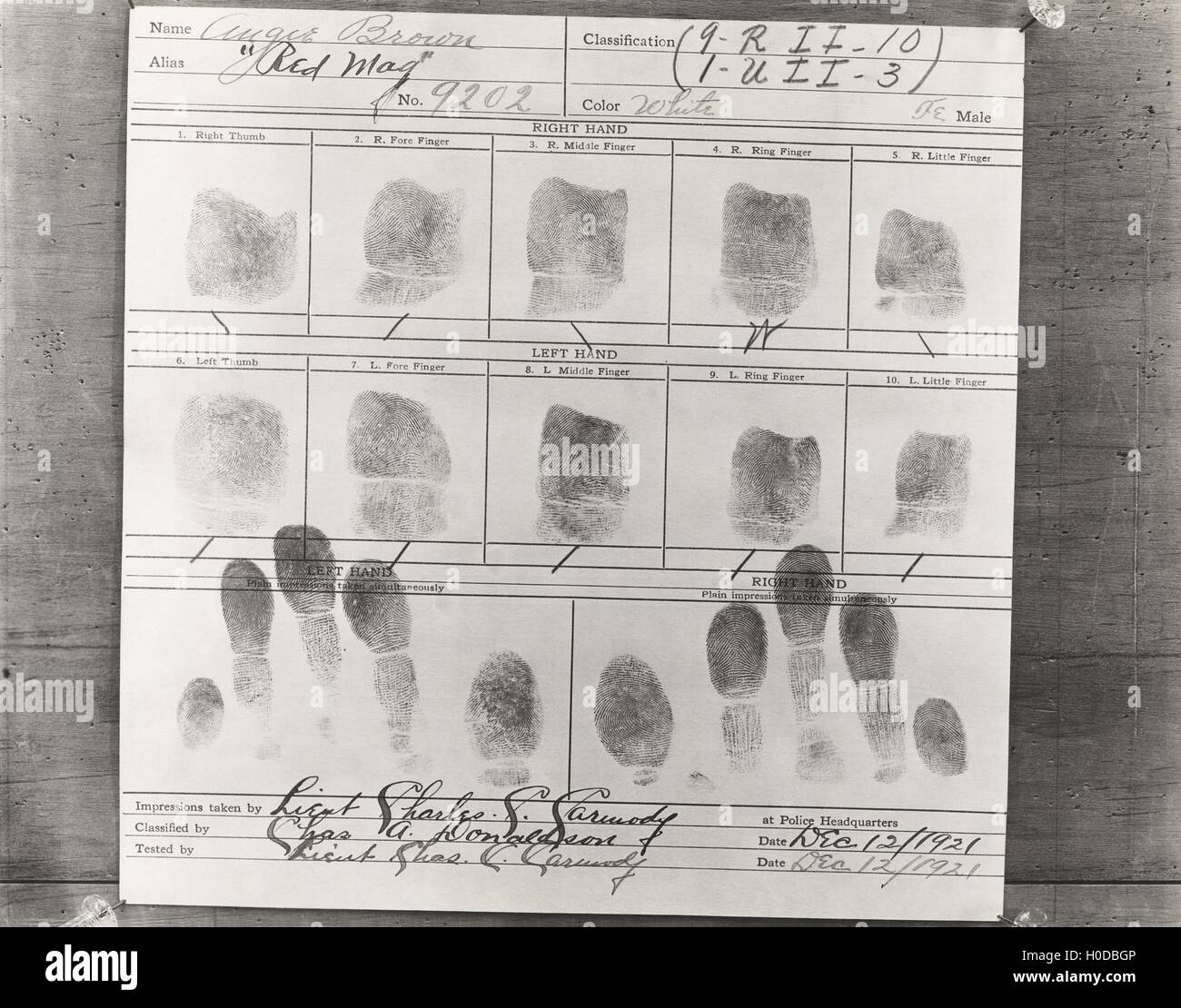 Close-up of person's fingerprints taken at police headquarters - Stock Image